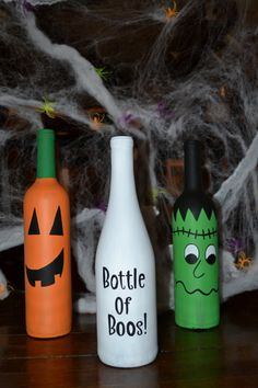 Hand Painted Set of Three Halloween Wine Bottle Decorations on Etsy, $30.00