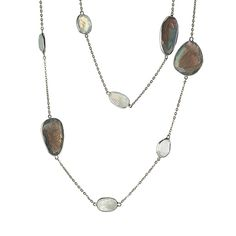 Lisa Bridge Labradorite & Moonstone Station Necklace in Sterling Silver | Designed by my lovely sorority sister with impeccable taste, Lisa Bridge