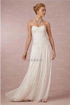 Sheath/Column Sweetheart Strapless Sweep / Brush Train Chiffon wedding dress - IZIDRESS.com at IZIDRESS.com