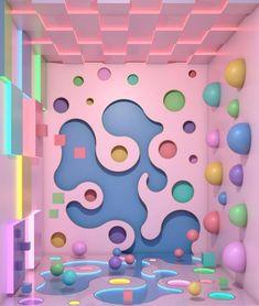 Ana De Santos is a Spanish interior designer who creates beautiful interior graphics with a voyeur attitude. Deco Restaurant, Spanish Interior, Kindergarten Design, Décor Boho, Retro Futurism, Booth Design, Store Design, Event Design, Decoration