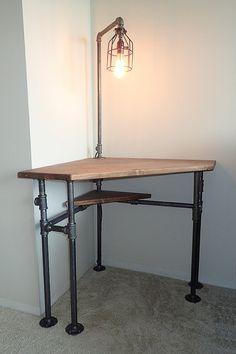 industrial pipe corner desk pub height or normal height. Black Bedroom Furniture Sets. Home Design Ideas