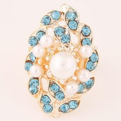 Rhinestone and Pearls Embellished Royal Fashion Floral Cluster Ring - Blue