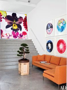 The entrance stairwell leading to Quinn's painting studio is lined with artworks | archdigest.com
