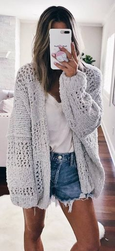 how to wear with a knit cardigan : white top + denim shorts