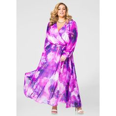Ashley Stewart Surplice Floral Maxi Dress Purple Magic (69 CAD) ❤ liked on Polyvore featuring dresses, plus size chiffon dresses, multi color maxi dress, chiffon dress, chiffon maxi dress and elastic waist belt