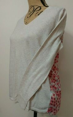 Gap Asymmetrical Hem Sheer Floral Back V Neck Sweater Top Size S Beige Pink   Gap 5bd6765985dc
