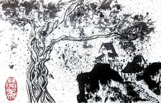 Lost Village, December 2016 Beijing Chinese ink on rice paper 13 cm x 20 cm Lost Village, European Paintings, Cecile, Fashion Painting, Rice Paper, Beijing, Moose Art, December, Chinese
