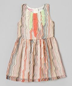 Love this Orange & Green Zigzag A-Line Dress - Toddler & Girls by Beetlejuice London on #zulily! #zulilyfinds