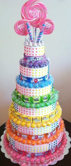 Candy Th Centpiece! Candy Birthday Cakes, Candy Cakes, Cupcake Cakes, Birthday Parties, Birthday Gifts, Birthday Ideas, Candy Theme Centerpieces, Candy Arrangements, Decorations
