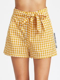 Shop Self Belt Wide Leg Gingham Shorts online. SheIn offers Self Belt Wide Leg Gingham Shorts & more to fit your fashionable needs. Rachel Berry, Spencer Hastings, Gingham Shorts, Yellow Shorts, Women's Shorts, Zooey Deschanel, Anne Hathaway, Casual Dresses, Casual Outfits