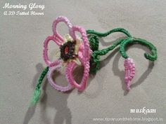 Morning Glory 3D flower with free tatying pattern .....muskaan's T*I*P*S: Tatting Pattern : Morning Glory 3D flower
