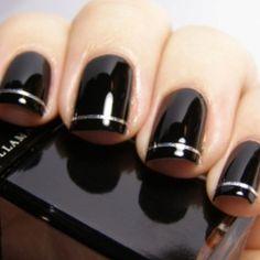 Neat nails #black #silver #nails