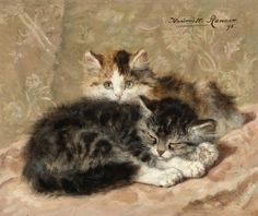 Henriette Ronner-Knip (Dutch, 1821-1909) - On the watch, oil on panel.  Things of beauty I like to see