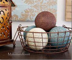 diy projects with jute--jute wrapped styrofoam balls (or wrap with a fun yarn!)