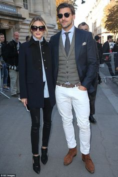 Trendsetters: Olivia Palermo, 30, accompanied husband Johannes Huebl to the Moncler Gamme Rouge SS17 show at Paris Fashion Week on Wednesday