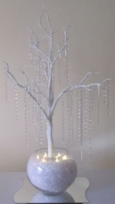 CRYSTAL TREE WITH A 40cm WAVE MIRRORED BASE