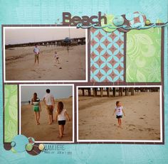 Love beach layouts! 1 pg, 3 pic - Sara, DCWV - July Stack-a-holic Template Challenge