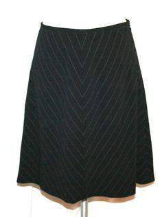 Escada A-line Black Pinstripe Lightweight Stretch Wool Skirt