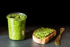 This pesto is so good, you'll never notice that it's dairy-free! Nutritional yeast adds cheesy flavor. Serve this in sandwiches, with pasta, or as a topping for thickly sliced heirloom tomatoes.