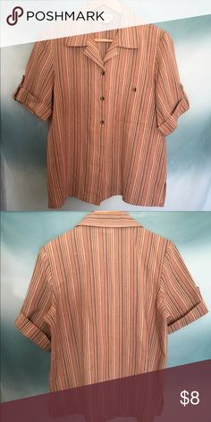 Spring time! Vintage button-up striped blouse Neutral tones, striped button-up. Great for the office or casual wear. Tag says size SML, fits loose, more like a medium. Tops Button Down Shirts