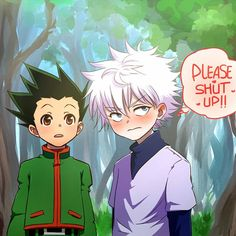 I love how Killua always blushes when Gon talks about him