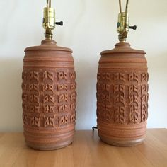 Bob Kinzie Pair Earthenware Lamps Studio Pottery Textured Table Lamps  Affiliated Craftsmen Lamps Vintage Lamps Costa Mesa CA Phil Barkdoll