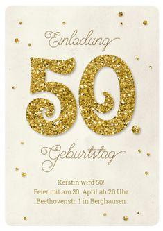 Einladungskarte zum 50. Geburtstag in hippem Vintage-Stil mit Glitter-50 und Konfetti