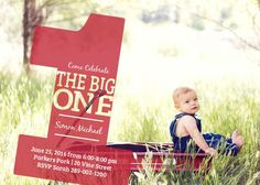 The Big One first birthday invitations are a fund photo invitations that is sure to make your guests smile. The Big One has a big transparent #1 overlaid on top of your choice of photo and all of the important party details packed neatly inside. Upload your own photo, and add your text to see an instant preview of your personalized card.</p>