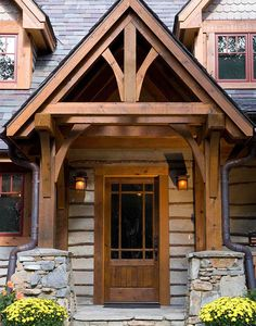 Lofts And Porches Images Rustic Exterior, Exterior Design, Log Homes Exterior, Cottage Exterior, Exterior Colors, Timber Frame Homes, Timber House, Porch Beams, Front Porch Design