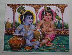 India Hindu Religious God Baal Krishna Print (U65)