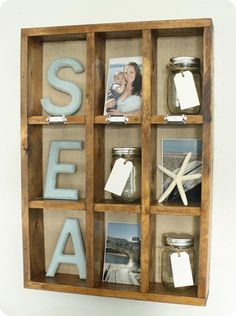 another great decor idea! this is where i'll put my beach photos, some dried sea finds and my bottled beach memories! : ~Anny - I second this Anny!