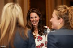 Britain's Catherine, Duchess of Cambridge, meets members of the British Olympic womens hockey team, as she meets athletes during a reception for Team GB's Olympic and Paralympic athletes, hosted by Britain's Queen Elizabeth II, at Buckingham Palace in central London on October 18, 2016.Britain's stars of this year's Olympic and Paralympic Games in Rio attended an 'amazing' reception at Buckingham Palace -- the official London home of Queen Elizabeth II -- on Tuesday. / AFP / POOL / Yui Mok…