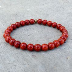 Bracelets - Grounding, First Chakra, Genuine Red Jasper Gemstone Mala Bracelet