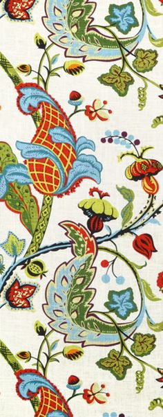 Colorful Covington Wilmington Multi Fabric #decor #sewing #drapery #green #blue #red