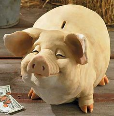 """PETTYCOAT Piggy Bank ~ Welcome to Hog Heaven! Cold cast and hand-painted. Easy access to money. X-large: 24""""L x 16""""W x 18""""H."""