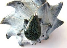 Glass Necklace Blue Teardrop Pendant Eco Friendly Handmade Jewelry by Hendywood $28