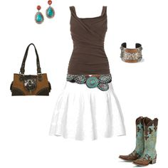 "Turquois accessories - and cowboy boots... I like it! {""Fancy"" by ellielg on Polyvore}"