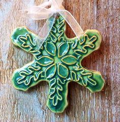 Snowflake Porcelain Ornament in Light Green......Free Shipping on Etsy, $15.00