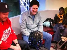 Mike Babcock, Johan Franzen and Detroit Medical Center patients chat during the Wings annual visit.