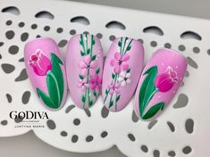 """If you're unfamiliar with nail trends and you hear the words """"coffin nails,"""" what comes to mind? It's not nails with coffins drawn on them. It's long nails with a square tip, and the look has. Spring Nail Art, Winter Nail Art, Spring Nails, Summer Nails, Tulip Nails, Flower Nails, Colorful Nail Designs, Cool Nail Designs, Bright Colored Nails"""