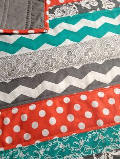 Coral grey and teal chevron baby quilt by Nooches on Etsy, $75.00