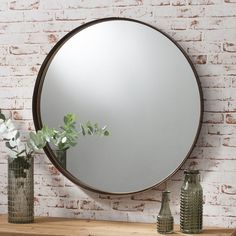 Round Wall Mirror Bronze Finish Living Room Bedroom Metal Accent Decorative New