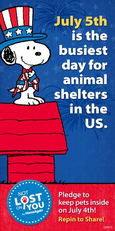Did you know that July 5th is the busiest day for animal shelters in the US? Help keep our pets safe by taking the pledge - all you have to do is repin! Thank you for helping us spread the word and together we can make it a Pet Friendly 4th!