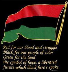 rosso per il nostro sangue e la lotta ,nero per la nostra gente di colore, verde per la terra, il simbolo della speranza di un futuro liberato che parlava dell'eroe nero.