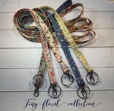 Skinny floral Lanyard ID Badge Holder – Lobster clasp and key ring New Thinner Design – vintage inspired flowers tiny flower – christmasgift Christmas Gifts For Coworkers, Thing 1, Lavender Sachets, Letter Charms, Id Badge Holders, Tiny Flowers, Key Fobs, Hand Warmers, Lobster Clasp