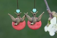 Antique bronze swallow bird Kidney Earrings boho by tortugasdesign, $14.95