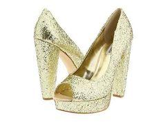 Steve Madden Alice Gold Glitter Platform Pumps Heels Shoes Peep Toe Womens New   eBay