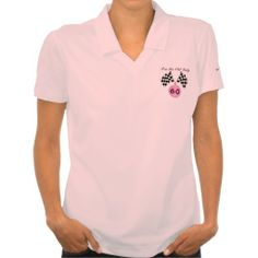 Checkered Flag Ladies Race Sports Funny Birthday Polos Your friends will love this funny checkered flag surprise birthday party womens polo shirt. Personalize this unique celebration tee for your lady motorcycle or auto race fans big over the hill birthday party! This polo shirt features a background checkered flag with maroon text. Great gag gift for a motorcycle or auto race driver, fan, mechanic team or coach for a 20th , 30th , 40th , 50th , 60th , 70th birthday or any other age!