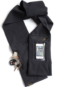 Peepsnake Smartphone Scarf, Touchscreen & Camera Window, Premium Polartec, Black