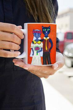 Engagement mug - Bride and groom mugs - Mr and Mrs mugs - Cats mugs - Mr & Mrs mug - Love mug - Gift for couples - Tea cup  -His and her cat mug - Coffee cup